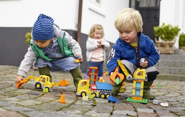LEGO Duplo Big Construction Site playing together