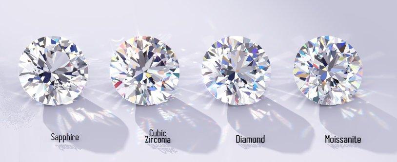 Cubic Zirconia Vs Diamond Vs Sapphire Vs Moissanite value