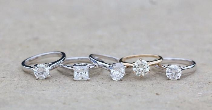 White Sapphire Engagement Ring metal