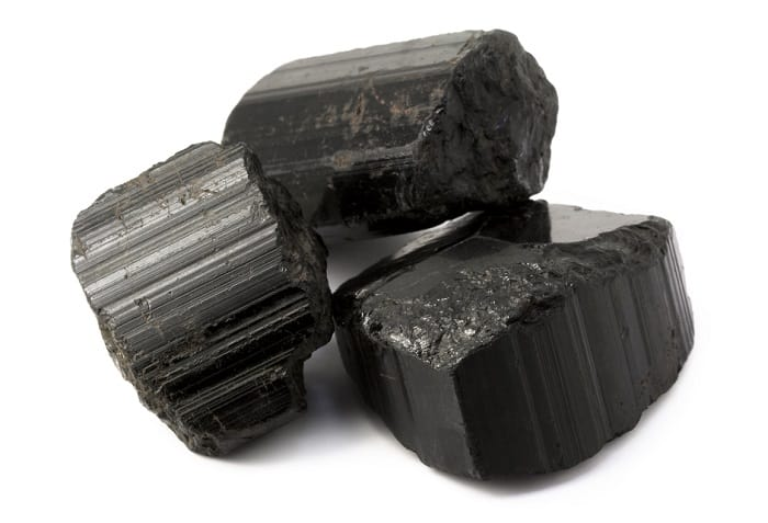 October birthstone Rough black tourmaline rocks