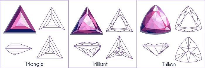 Diamond trillion cut triangle
