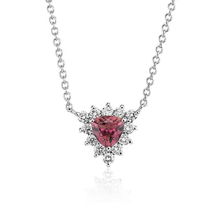 Pink Tourmaline necklace chain 14k white gold