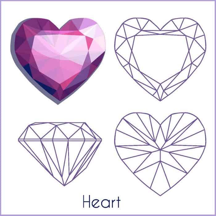 types of diamond cuts heart