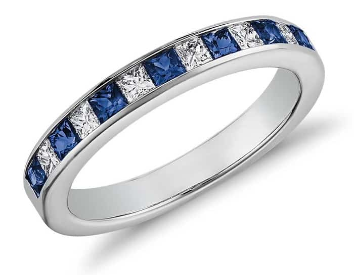 List Popular Gemstones types of ring settings Channel-Set Princess Cut Sapphire and Diamond Ring in 14K White Gold