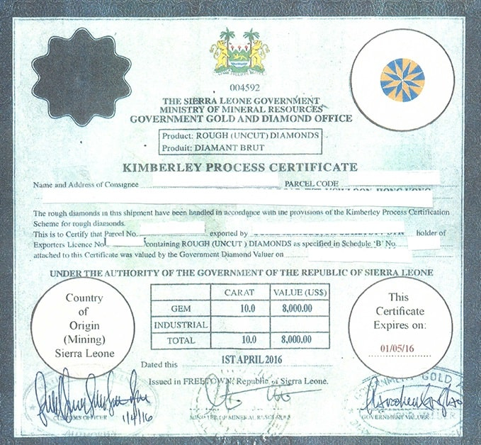 uncut diamond Kimberly process certificate