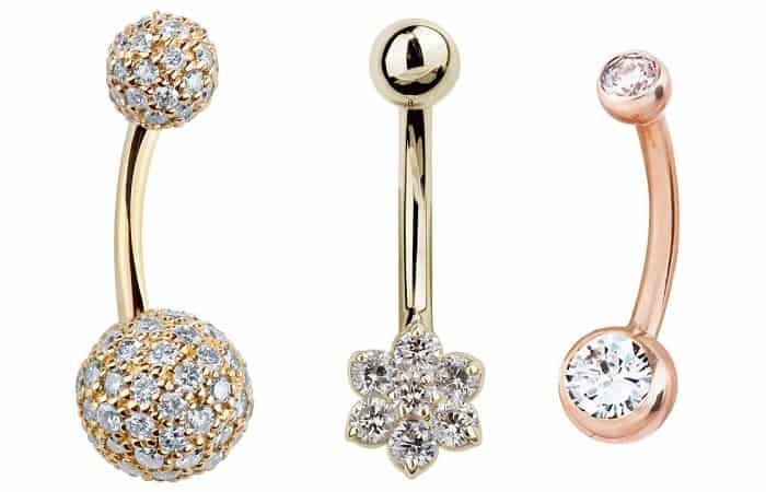 Belly Button Piercing diamond banababell 14k gold