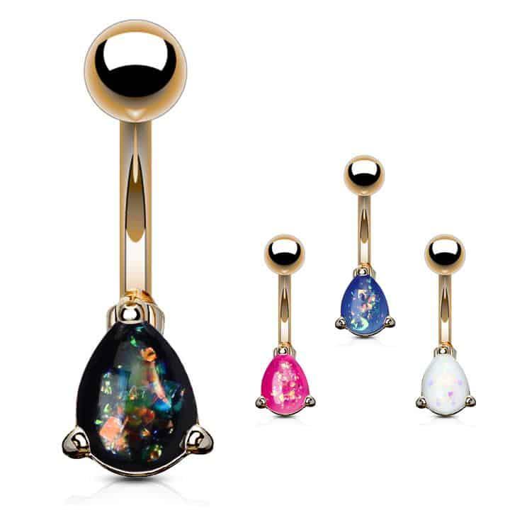 List Popular Gemstones Black Opal rose gold belly ring