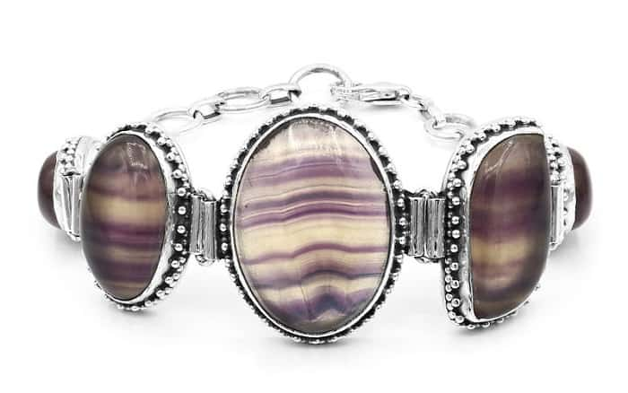 List Popular Gemstones Fluorite silver bracelet