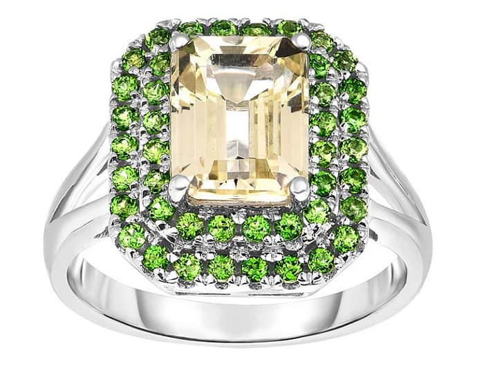 list popular gemstones Hiddenite and Chrome Diopside Ring