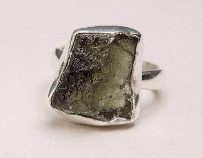 List Popular Gemstones Moldavite ring uncut in Sterling Silver