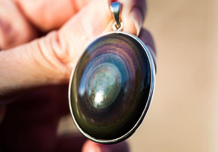 List Popular Gemstones Rainbow Obsidian pendant