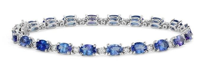 List Popular Gemstones Tanzanite bracelet in 14k White Gold