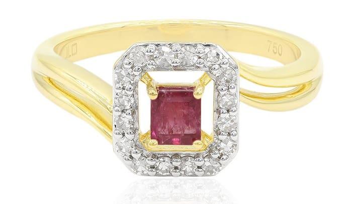 List Popular Gemstones red beryl square cut ring 18k Gold 750 mark