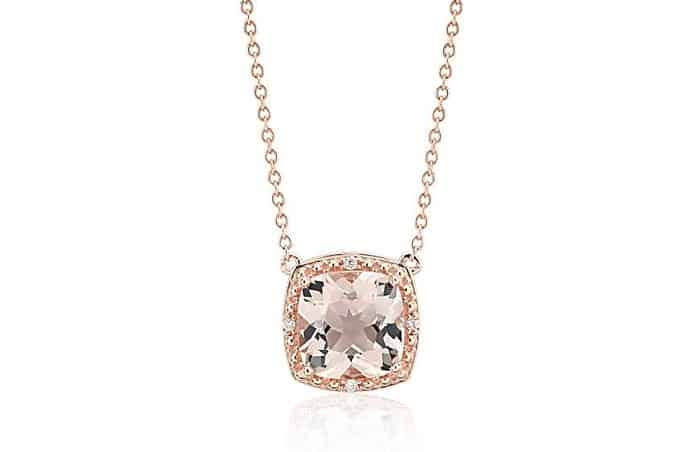 Pink Gemstones List Pink Morganite necklace 14k rose gold