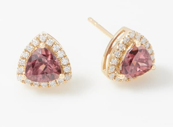 Pink Gemstones List Pink zircon Trillion-Cut 14K Gold stud earrings