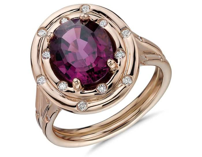 Pink Gemstones List Rhodolite garnet ring