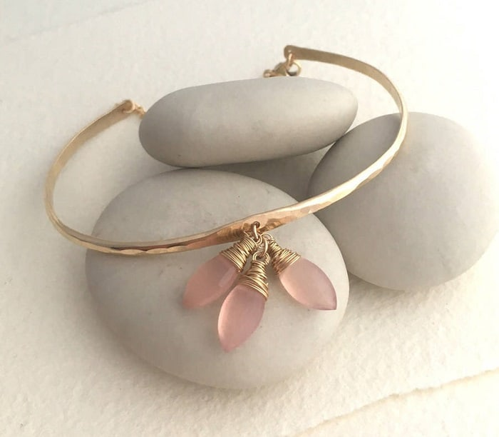 Pink Gemstones List pink chalcedony bangle