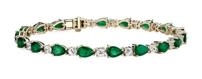 january birthstone Emerald and White Sapphire Bracelet 14k gold
