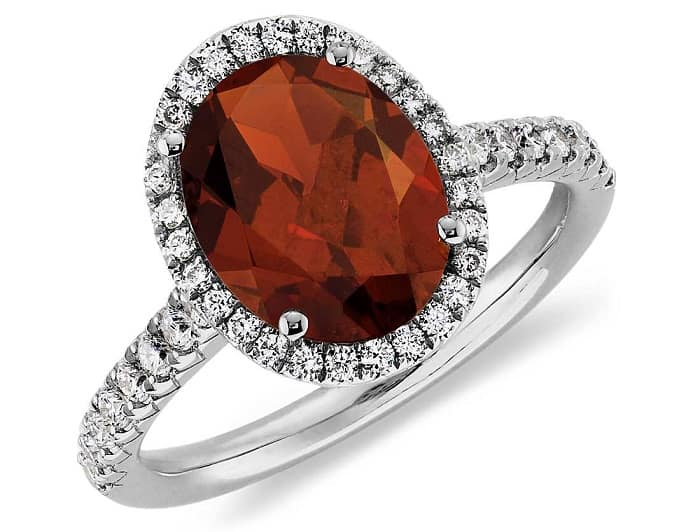 january birthstone Garnet and Diamond Halo Ring in 18k White Gold
