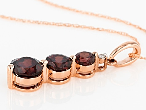 january birthstone Red Zircon 10k Rose Gold Pendant With Chain