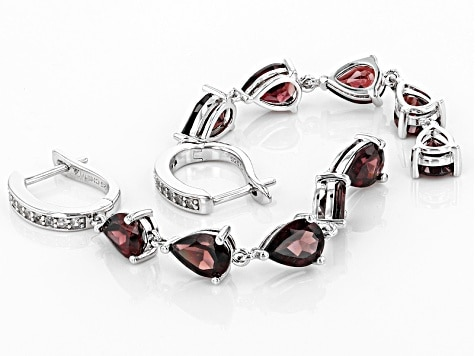 january birthstone Red Zircon Sterling Silver Earrings
