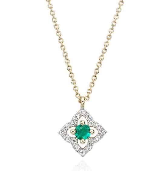 Petite Emerald and Diamond Floral Pendant in 14k yellow gold
