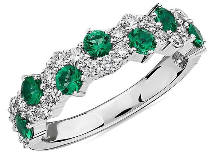 may birthstone emerald and diamond ring in 14k white gold