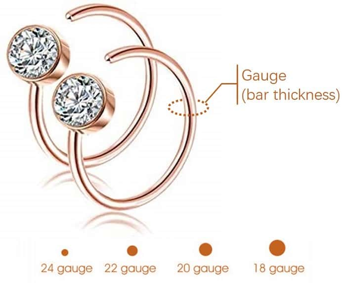 nose ring sizes gauge