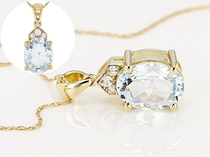 March birthstones aquamarine pendant 10k gold chain