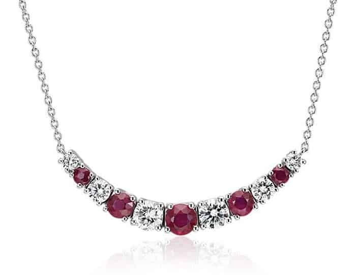 Necklace Length types Princess Ruby and Diamond Necklace