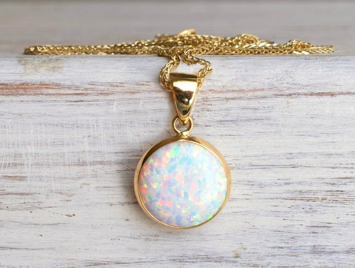 October birthstone opals necklace