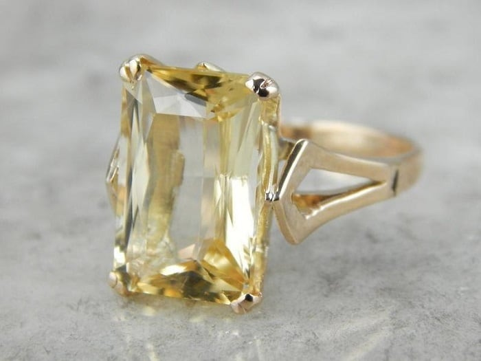Yellow Gemstones Scapolite cocktail ring
