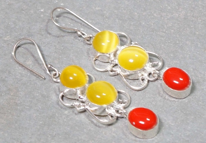 Yellow Gemstones yellow Chrysoberyl earrings