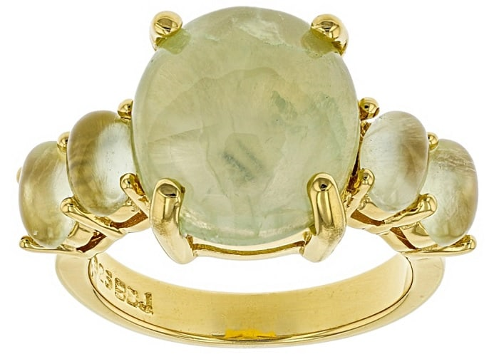 Healing power of prehnite Green prehnite 18k Yellow Gold Over Silver Ring