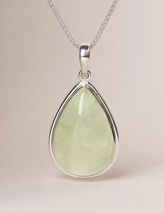 Healing power of prehnite pendant necklace Sterling Silver Chain