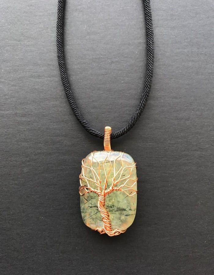 Healing power of prehnite tree of life pendant necklace