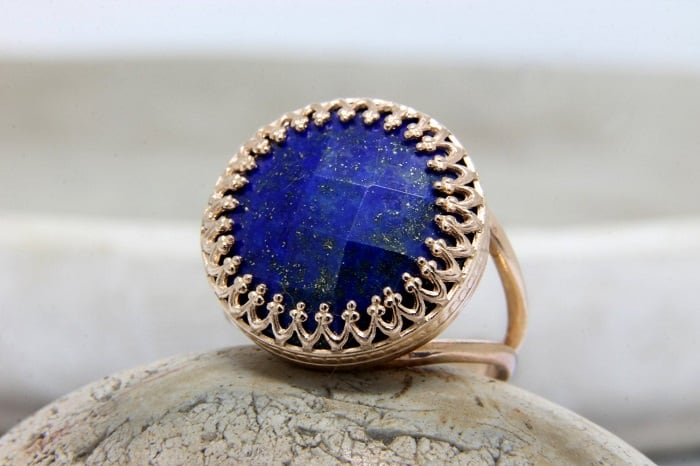 Lapis Lazuli meaning Ring in 14k Rose Gold Filled Double Band