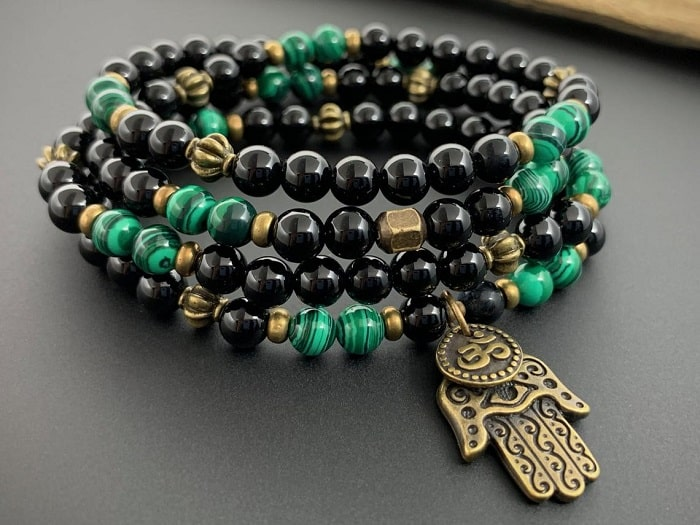 Malachite and Onyx Mala with Hamsa Hand