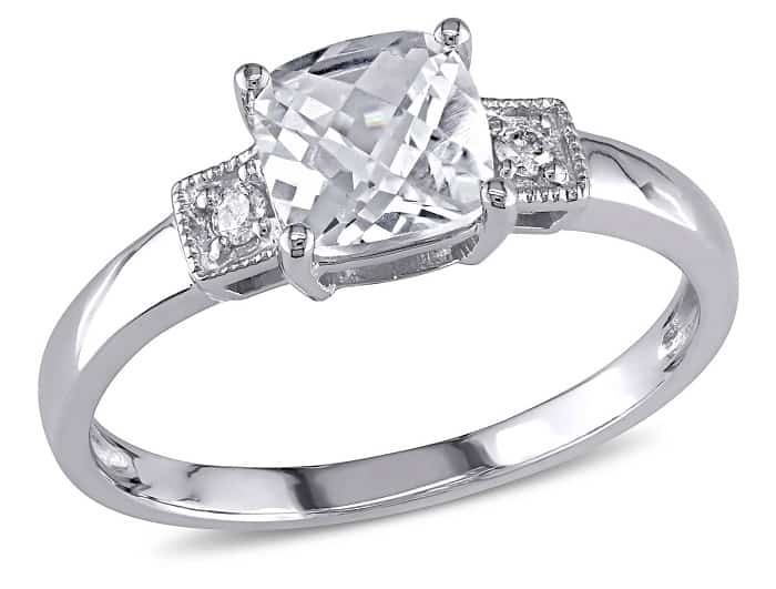 cheap engagement rings walmart Cushion-Cut Created White Sapphire