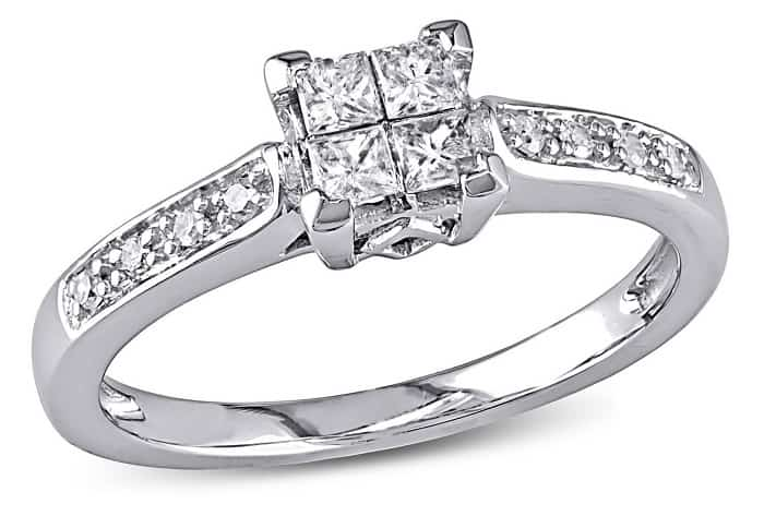 cheap engagement rings walmart Princess and Round-Cut Diamond