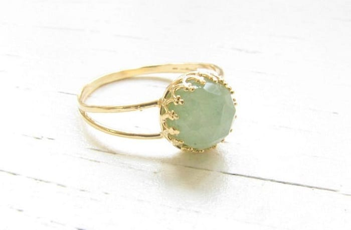 jade ring with 14k gold filled